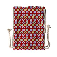 Eye Dots Red Pastel Drawstring Bag (small) by snowwhitegirl