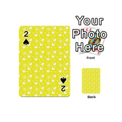 Hearts And Star Dot Yellow Playing Cards 54 (mini)  by snowwhitegirl