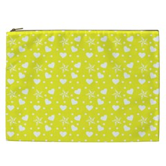Hearts And Star Dot Yellow Cosmetic Bag (xxl) by snowwhitegirl
