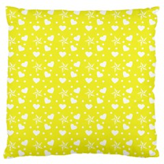 Hearts And Star Dot Yellow Standard Flano Cushion Case (two Sides) by snowwhitegirl