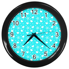 Hearts And Star Dot Blue Wall Clock (black) by snowwhitegirl