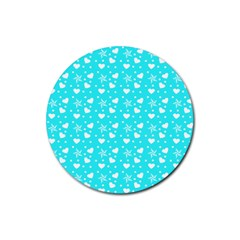 Hearts And Star Dot Blue Rubber Round Coaster (4 Pack)  by snowwhitegirl