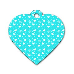 Hearts And Star Dot Blue Dog Tag Heart (two Sides) by snowwhitegirl