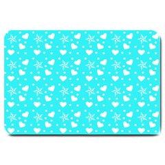 Hearts And Star Dot Blue Large Doormat  by snowwhitegirl