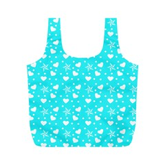 Hearts And Star Dot Blue Full Print Recycle Bag (m) by snowwhitegirl