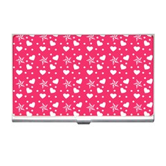 Hearts And Star Dot Pink Business Card Holders by snowwhitegirl