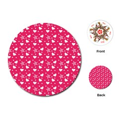 Hearts And Star Dot Pink Playing Cards (round)  by snowwhitegirl