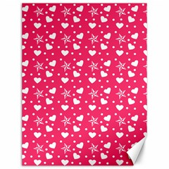 Hearts And Star Dot Pink Canvas 12  X 16   by snowwhitegirl