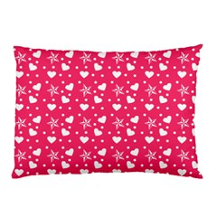 Hearts And Star Dot Pink Pillow Case by snowwhitegirl