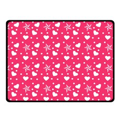 Hearts And Star Dot Pink Fleece Blanket (small)