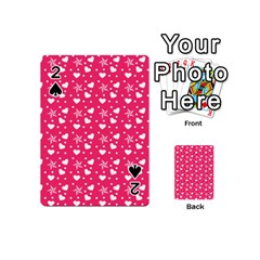 Hearts And Star Dot Pink Playing Cards 54 (mini)  by snowwhitegirl