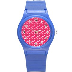 Hearts And Star Dot Pink Round Plastic Sport Watch (s) by snowwhitegirl