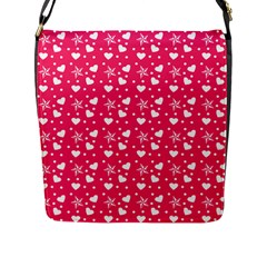 Hearts And Star Dot Pink Flap Closure Messenger Bag (l) by snowwhitegirl
