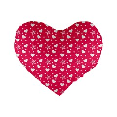 Hearts And Star Dot Pink Standard 16  Premium Flano Heart Shape Cushions