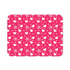 Hearts And Star Dot Pink Double Sided Flano Blanket (mini)