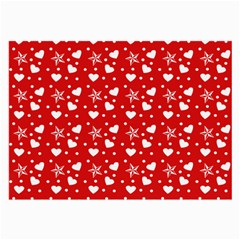 Hearts And Star Dot Red Large Glasses Cloth (2 Side)