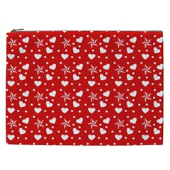 Hearts And Star Dot Red Cosmetic Bag (xxl) by snowwhitegirl