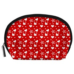 Hearts And Star Dot Red Accessory Pouch (large)