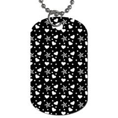 Hearts And Star Dot Black Dog Tag (two Sides)