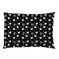 Hearts And Star Dot Black Pillow Case by snowwhitegirl