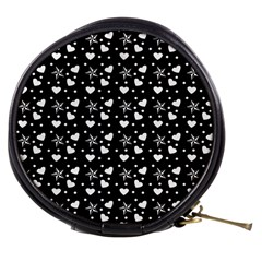 Hearts And Star Dot Black Mini Makeup Bags by snowwhitegirl