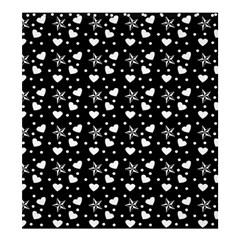 Hearts And Star Dot Black Shower Curtain 66  X 72  (large)  by snowwhitegirl