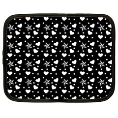 Hearts And Star Dot Black Netbook Case (xl) by snowwhitegirl