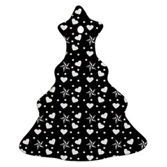 Hearts And Star Dot Black Christmas Tree Ornament (two Sides) by snowwhitegirl