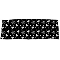 Hearts And Star Dot Black Body Pillow Case (dakimakura) by snowwhitegirl