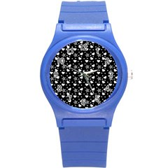 Hearts And Star Dot Black Round Plastic Sport Watch (s) by snowwhitegirl