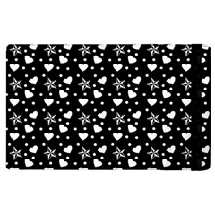 Hearts And Star Dot Black Apple Ipad 2 Flip Case by snowwhitegirl