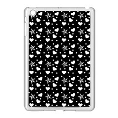Hearts And Star Dot Black Apple Ipad Mini Case (white) by snowwhitegirl