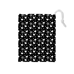 Hearts And Star Dot Black Drawstring Pouch (medium)