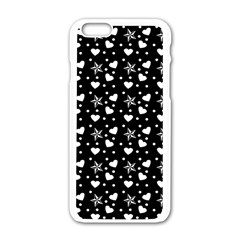 Hearts And Star Dot Black Apple Iphone 6/6s White Enamel Case by snowwhitegirl