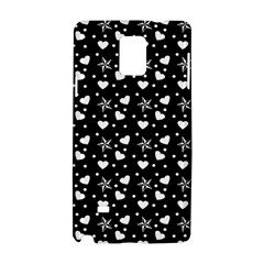 Hearts And Star Dot Black Samsung Galaxy Note 4 Hardshell Case by snowwhitegirl