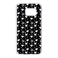 Hearts And Star Dot Black Samsung Galaxy S7 White Seamless Case by snowwhitegirl