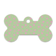 Hearts And Star Dot Green Dog Tag Bone (one Side) by snowwhitegirl