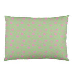 Hearts And Star Dot Green Pillow Case by snowwhitegirl