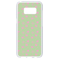 Hearts And Star Dot Green Samsung Galaxy S8 White Seamless Case by snowwhitegirl