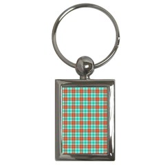 Aqua Orange Plaid Key Chains (rectangle)  by snowwhitegirl
