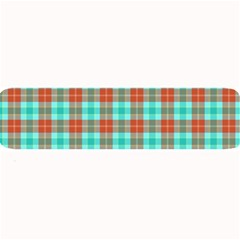 Aqua Orange Plaid Large Bar Mats by snowwhitegirl