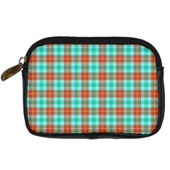 Aqua Orange Plaid Digital Camera Leather Case by snowwhitegirl