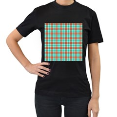 Aqua Orange Plaid Women s T Shirt (black) by snowwhitegirl