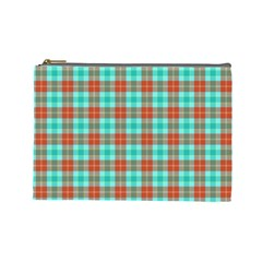 Aqua Orange Plaid Cosmetic Bag (large) by snowwhitegirl