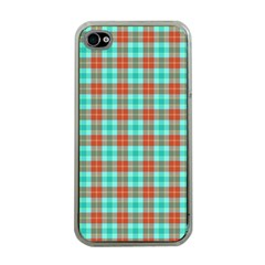 Aqua Orange Plaid Apple Iphone 4 Case (clear) by snowwhitegirl