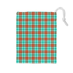 Aqua Orange Plaid Drawstring Pouch (large)