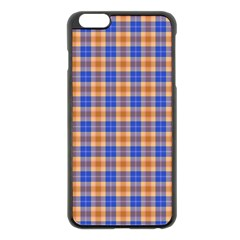 Orange Blue Plaid Apple Iphone 6 Plus/6s Plus Black Enamel Case