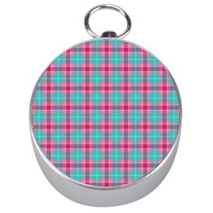 Blue Pink Plaid Silver Compasses by snowwhitegirl