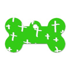 Green White Cross Dog Tag Bone (one Side) by snowwhitegirl