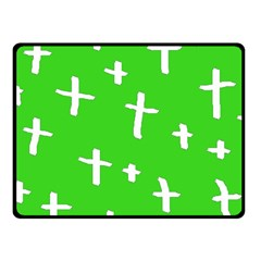 Green White Cross Fleece Blanket (small)